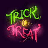 Trick or Treat. Halloween poster design with hand drawn elements vector illustration