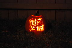 Trick or treat. Halloween pumpkin carved with his own hands, with backlight stock images