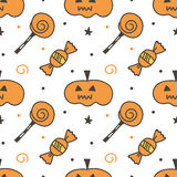 Trick or treat halloween pumpkin and sweets seamless pattern background Stock Photos