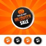 Trick or Treat Halloween Sale banner and 50%, 60%, 70% & 80% Off Marks. Vector illustration. Trick or Treat Halloween Sale banner and 50%, 60%, 70% & 80% Stock Images