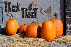 Trick or treat. Halloween trick or treat sign with pumpkins Stock Images
