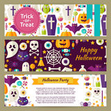 Trick or Treat Halloween Vector Template Banners Set in Modern F Royalty Free Stock Photography