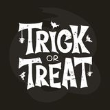 Trick or Treat hand drawn lettering typography on chalkboard stock illustration