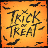 Trick or treat handwritten text, Halloween illustration Stock Photos