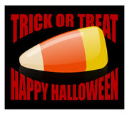 Trick or treat. Happy Halloween. candy corn. Sweets on plate. Tr. Aditional treat for terrible holiday Stock Image