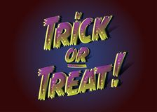 Trick or Treat Inscription for Halloween Party. 3D Spooky Text   Royalty Free Stock Photos