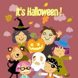 Trick or treat kids. Halloween kids trick or treat costumes vector illustration