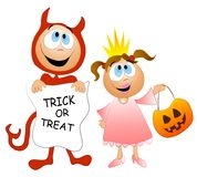 Trick or Treat Kids Costumes. A clip art illustration of a couple of kids dressed up for halloween in red devil and princess costumes, holding treat bags with Stock Image