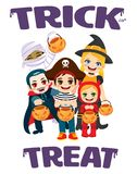 Trick or Treat Kids Isolated. Trick or Treat kids wearing Halloween costumes and holding pumpkin bags isolated with text stock illustration