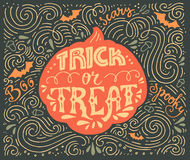 Trick-or-treat lettering. Trick or treat- inspirational quote. Vector art. Unique design element for housewarming poster or banner. Halloween series with vector illustration