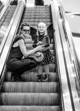 Mother and daughter with Halloween pumpkin Jack O'Lantern Stock Photo