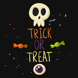 Trick or treat postcard. With skull, eyeball and candies royalty free illustration