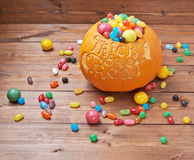 Trick or treat pumpkin composition Stock Image