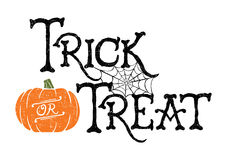 Trick or Treat Pumpkin. Trick or Treat. Vector of a hand-drawn Halloween greeting vector illustration