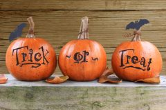 Trick or treat pumpkins. Three small trick or treat pumpkins Stock Image