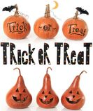 Trick or treat pumpkins. Collection of trick or treat pumpkins Royalty Free Stock Images