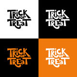 Trick or treat quote. Vector holiday illustration. Hand drawn letters for Halloween poster, card, print, banner. Trick or treat isolated quote set. Vector vector illustration