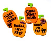Trick or Treat Rhyme. Foam pumpkins with trick or treat lettering Royalty Free Stock Image