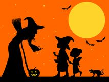Trick or treat silhouette Stock Image