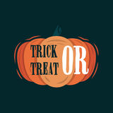 Trick Or Treat title on a pumpkin. Royalty Free Stock Image