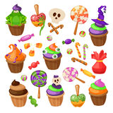 Trick or Treat. Traditional sweets and candies for holiday Halloween. Halloween candies isolated on white background Royalty Free Stock Photos