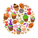 Trick or Treat. Traditional sweets and candies for holiday Halloween. Halloween candies isolated on white background Royalty Free Stock Image