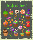 Trick or Treat. Traditional sweets and candies for holiday Halloween. Halloween candies isolated on white background Stock Images
