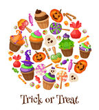 Trick or Treat. Traditional sweets and candies for holiday Halloween. Halloween candies isolated on white background Stock Photography