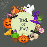 Trick or Treat. Traditional sweets and candies for holiday Halloween. Halloween candies  on white background Royalty Free Stock Photography