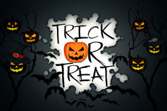 Trick or Treat Tree Halloween Pumpkins Bats Black Background Royalty Free Stock Images