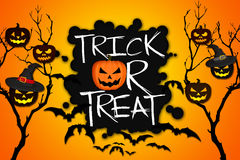 Trick or Treat Tree Halloween Pumpkins Bats Orange Background Royalty Free Stock Photos