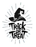 Trick or Treat vector. Trick or Treat Halloween text with witch hat Stock Images