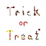 Trick or Treat words in bugs and candy on white Stock Photo