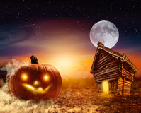 Trick-or-treating halloween background. Landscape backhround for halloween card Stock Image