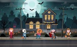 Trick-or-treating Halloween ritual royalty free illustration