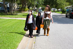 Trick or Treating in Neighborhood Stock Image