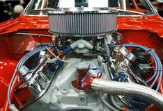 Tricked out car engine. Highly customized car engine in a rebuilt muscle car - all copyright materials removed Stock Photography