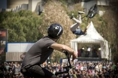 Tricks at the BMX park. Tricks in the bmx park, extreme sport royalty free stock photography