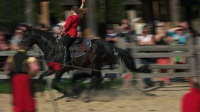 Tricks on galloping horse.