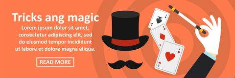 Tricks and magic banner horizontal concept. Flat illustration of tricks and magic banner horizontal vector concept for web Stock Photography