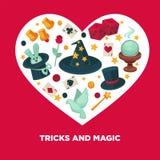 Tricks and magic vector heart poster Royalty Free Stock Photos