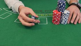 Tricks with Stack of Poker Chips. In 4k stock video footage