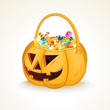 Tricks or Treats Halloween Jack O Lantern. Illustration of Festive Basket with Sweets Royalty Free Stock Photography