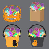 Tricks or Treats Halloween Jack O Lantern. Vector Illustration. Of Festive Basket with Sweets Stock Photo