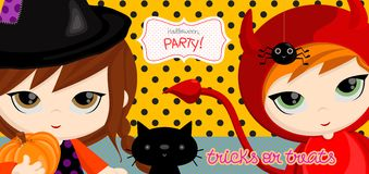 Tricks_witch. Festive Halloween, kids wearing halloween masks — cute and colorful halloween header or banner perfect for the holidays. Vector illustration Stock Image