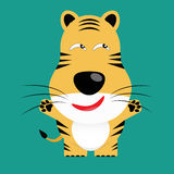 Tricky bengal tiger cartoon character Stock Photography