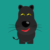 Tricky black leopard cartoon character Stock Images