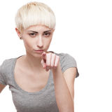 Tricky casual blond girl Royalty Free Stock Photo