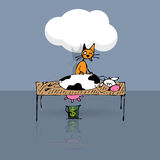 Tricky cat milking cow Royalty Free Stock Image