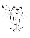Tricky funny cat black outline. Cunning cat  black outline vector image Royalty Free Stock Photography